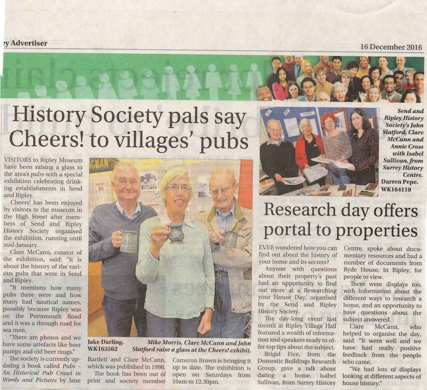 History Society Pals Say Cheers! To Villages Pubs