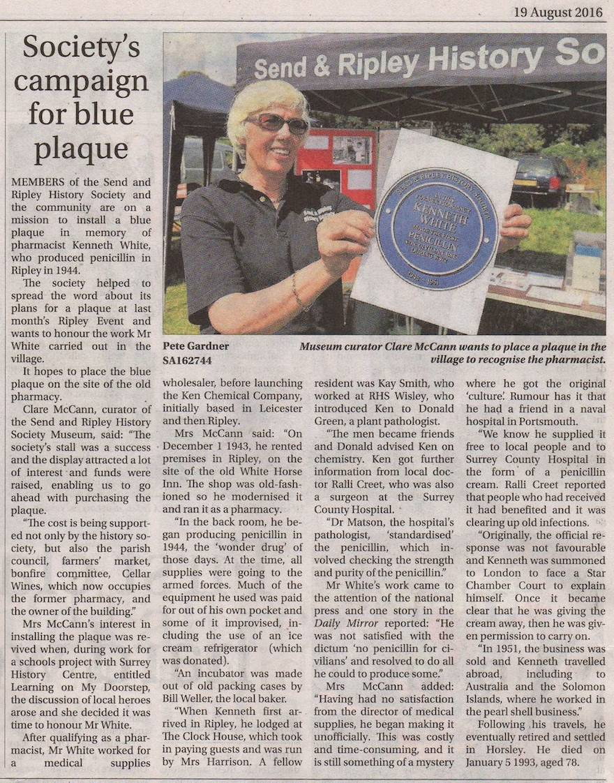 Society's Campaign for Blue Plaque