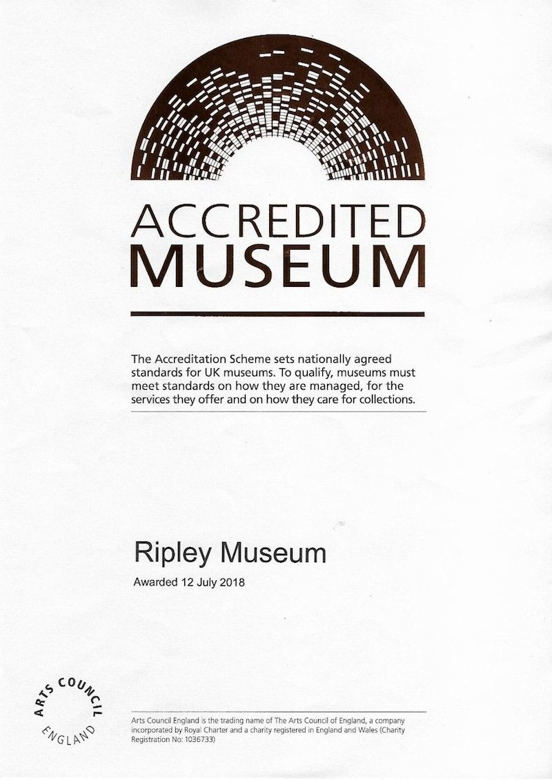 Ripley Museum accreditation certificate